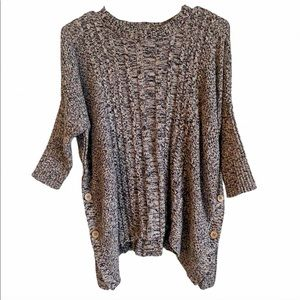LAmade Knit Black,Tan, and White Button Sweater M